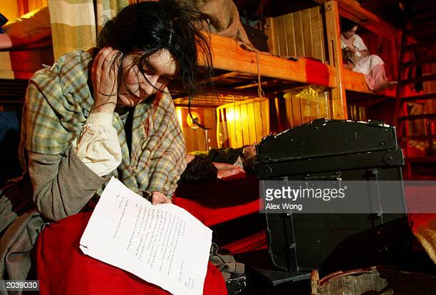 Passengers' lives are replicated on the lower deck on the replica of the original Irish famine ship Jeanie Johnston May 29 2003 in Washington DC The...