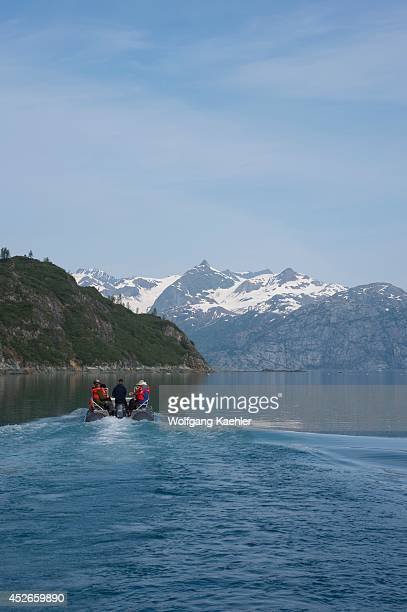 Passengers of cruise ship Safari Endeavour on boat tour near Reid Glacier in Glacier Bay National Park Alaska USA