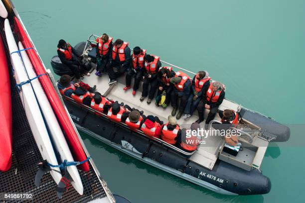Passengers of Safari Endeavour cruise at Fords Terror Endicott Arm Tongass National Forest Alaska USA The 49th State the largest in the US