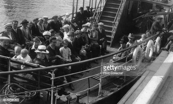 Passengers on board a boat Bournemouth Dorset 1921