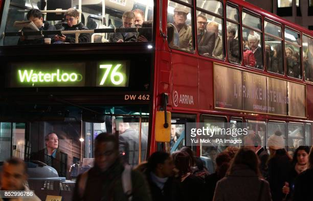 Passengers on board a bus in Farringdon London during a 48hour tube strike as London Underground workers strike over planned job cuts and ticket...