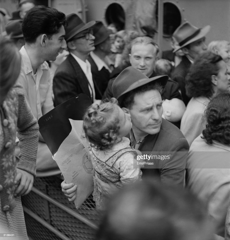 Passengers on board the last displaced persons boat from Europe arriving in New York.