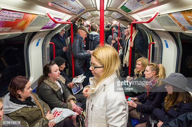 Passengers on Central Line train of the London Underground England UK