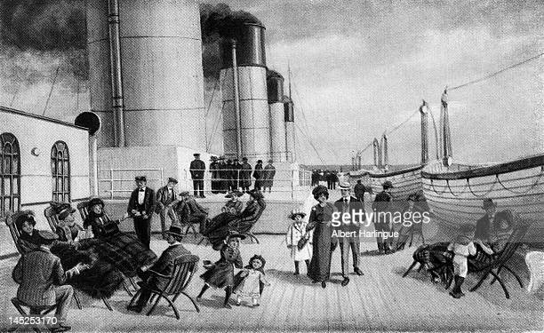 Passengers on first class deck of the 'TItanic' Advertising poster 19111912