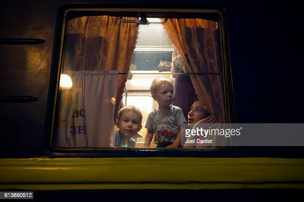 Passengers on night train in Lviv, Ukraine