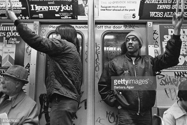 Passengers on the subway in New York City USA 26th April 1980