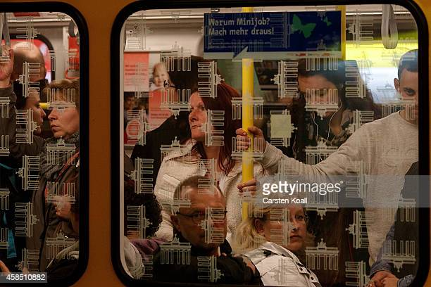 Passengers pack into the subway train retracted U5 line at the station Alexanderplatz during a fourday strike by the GDL train drivers labor union on...