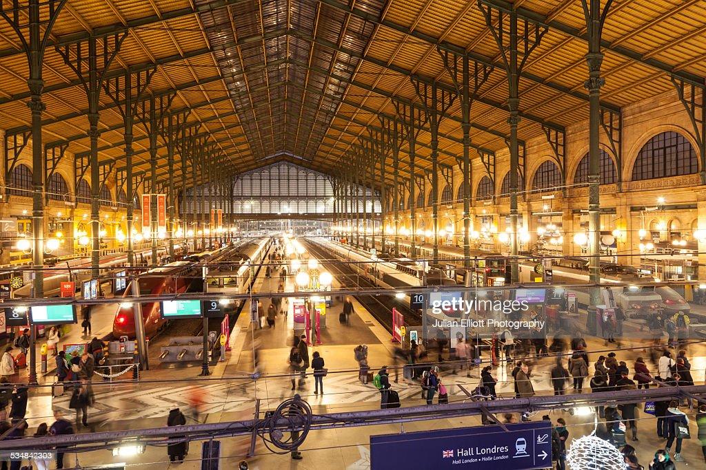 Passengers passing through Gare du Nord, Paris