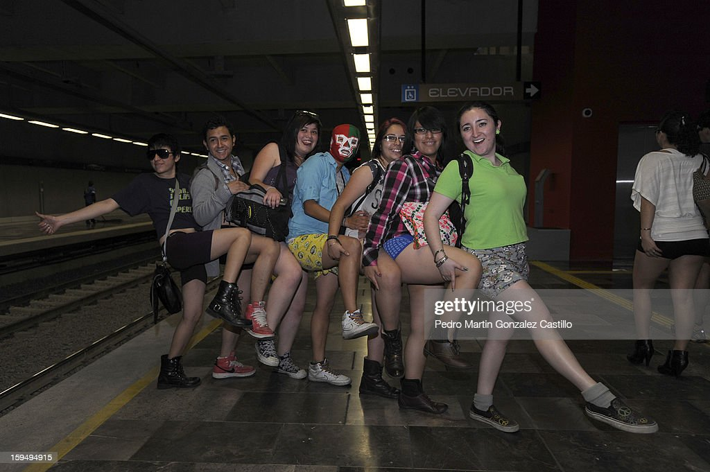 Passengers pose without pants in the subway to celebrate 'No Pants Day' on January 13, 2013 in Mexico City, Mexico.