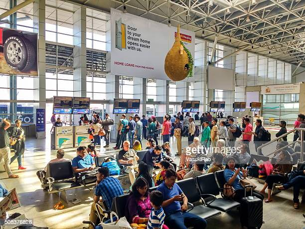 Passengers queue up at Mumbai airport, India