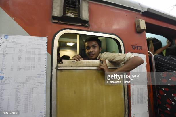 Passengers seen inside the lavatory of the sleeper class reservation coach during heavy rush in 12394 Sampoorn Kranti Express train which runs from...