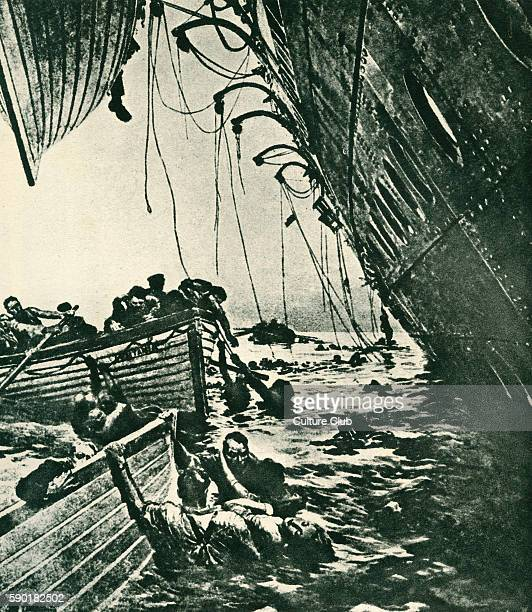 Passengers struggle to reach life boats sinking of the Lusitania 7 May 1915 Cunard ocean liner attacked by a German Uboat of the coast of Ireland The...