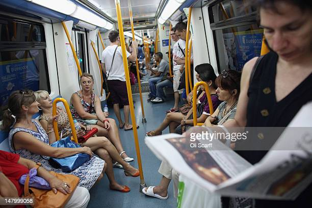 Passengers travel on the Metro underground train network on July 7 2012 in Madrid Spain Despite having the fourth largest economy in the Eurozone the...