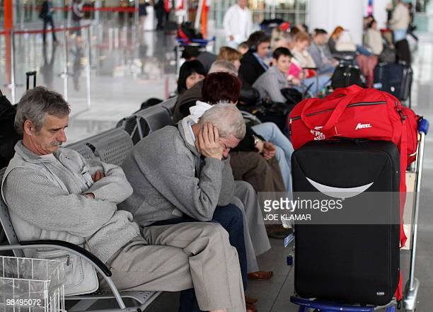 Passengers wait as all flights were cancelled at the Frederic Chopin international airport in Warsaw on April 16 2010 Poland pushed ahead Friday with...