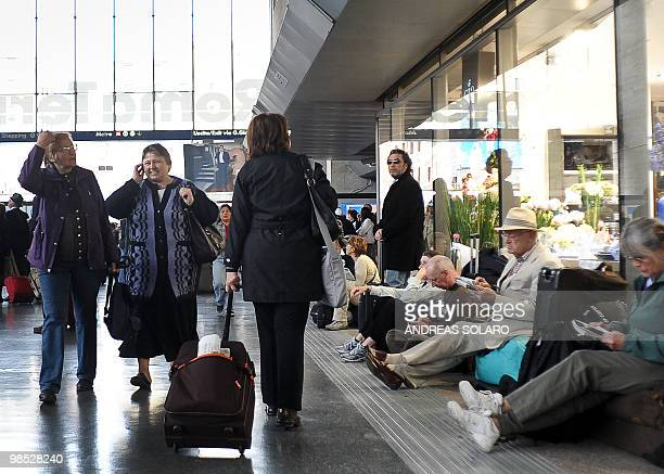Passengers wait at Termini Central train station in Rome on April 18 2010 Airspace across northern Italy will remain closed until 0600 GMT on Sunday...