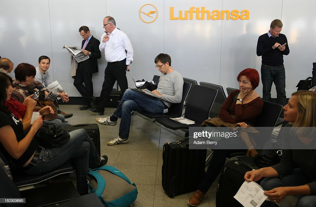 Passengers wait for a Lufthansa flight to Frankfurt on September 14, 2012 at Tegel airport in Berlin, Germany. After the latest in a series of Lufthansa cabin crew strikes led by the flight attendants' union UFO, actions demanding guarantees for job security as well as a five percent salary increase, resulting in nearly 1,800 flight cancellations after 13 months of contract negotiations, the strikers and the airline have agreed upon a former economic adviser to the German government, Bert Ruerup, as an arbitrator, who has stated that he expects a solution by the end of October. The cabin crew union has agreed not to strike over the estimated six weeks of discussions.