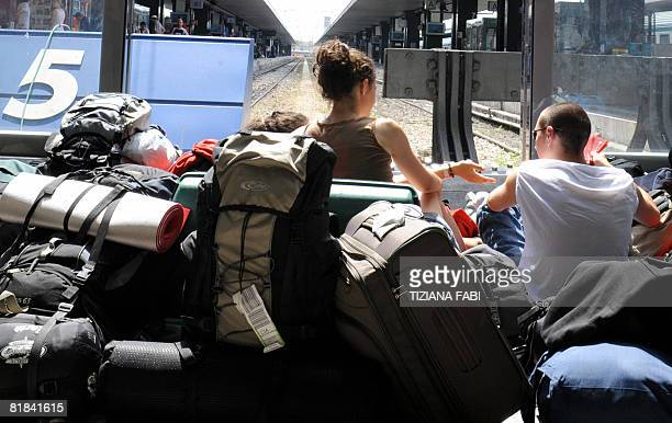 Passengers wait for a train on July 7 2008 at the Termini railway station in Rome on the day of the general strike of public transports Mass transit...
