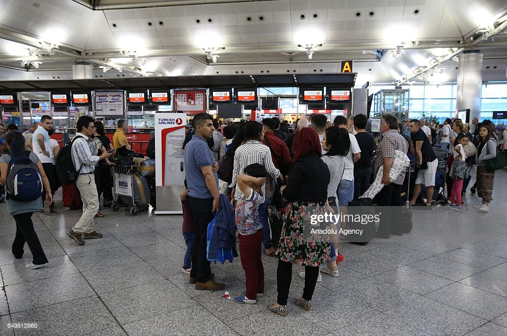 Passengers wait for their flights at the Ataturk International Airport after the air traffic returned to normal following yesterday's terror attack in Istanbul, Turkey on June 29, 2016. At least 36 victims and three suicide bombers were killed while scores of others were injured in a terror attack on Istanbuls Ataturk International Airport.