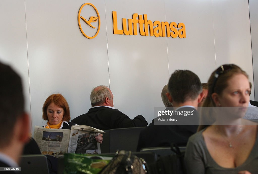 Passengers wait for their Lufthansa flight to Frankfurt on September 14, 2012 at Tegel airport in Berlin, Germany. After the latest in a series of Lufthansa cabin crew strikes led by the flight attendants' union UFO, actions demanding guarantees for job security as well as a five percent salary increase, resulting in nearly 1,800 flight cancellations after 13 months of contract negotiations, the strikers and the airline have agreed upon a former economic adviser to the German government, Bert Ruerup, as an arbitrator, who has stated that he expects a solution by the end of October. The cabin crew union has agreed not to strike over the estimated six weeks of discussions.