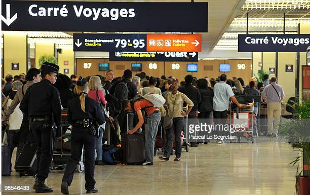 Passengers wait to checkin at Orly Airport on April 19 2010 in Paris France Airports across Europe were closed due to the cloud of volcanic ash from...