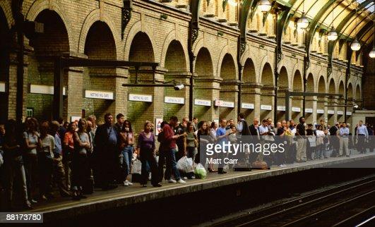 Passengers waiting for subway,  London,  England