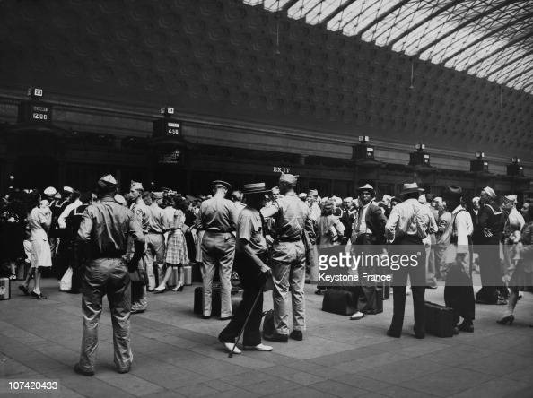 Passengers Waiting For Train At Union Station In Usa On 1944