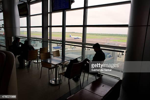 Passengers waiting in the lounge at Rajiv Gandhi International Airport in Hyderabad