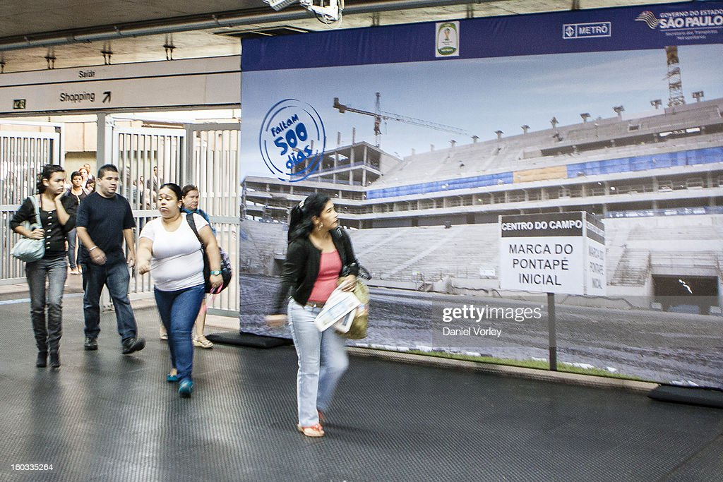 Passengers walk to the metro station Itaquera on January 29, 2013 in Sao Paulo, Brazil.