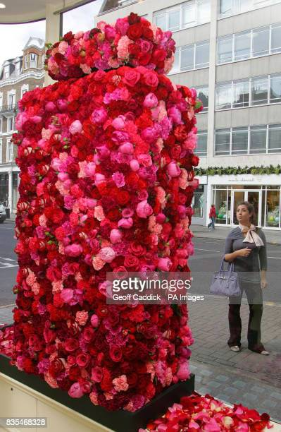 A passerby admires a large perfume bottle made of roses in the window of Jo Malone on Sloane Street as the Sloane Shopping Area in London is...