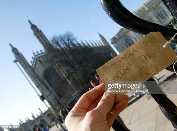 A passerby looks at one of the labels attached to the railing at Great St Mary s Church in Cambridge where people have expressed their thoughts and...
