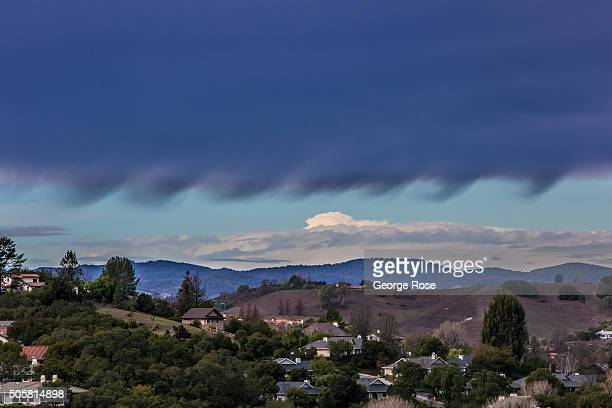 A passing rain shower produces some strange looking clouds on January 7 2016 in Solvang California Because of its close proximity to Southern...