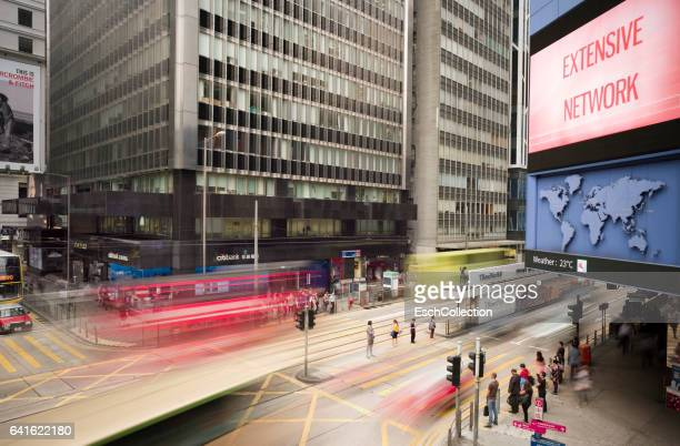 Passing traffic at busy junction in Hong Kong Central District
