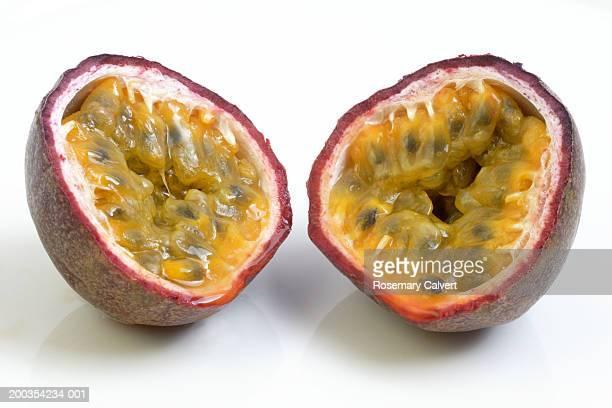 Passion fruit halves, close up
