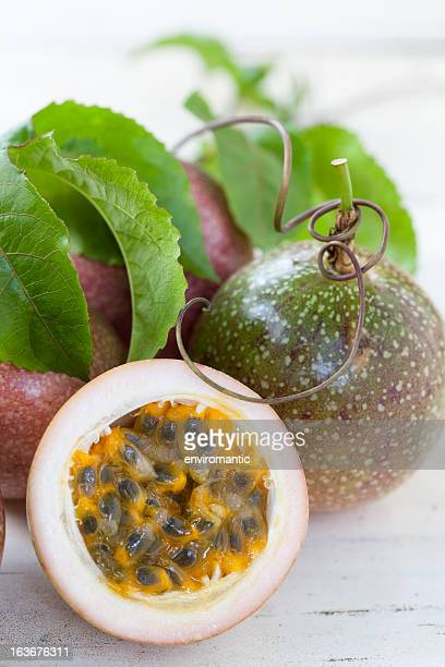 Passion fruit on an old table.