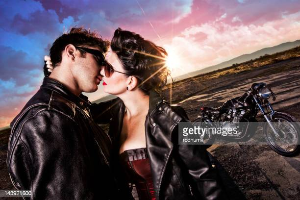 Passionate Sexy Kiss at Sunset