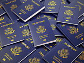 USA passport background. Immigration or travel concept. 3d