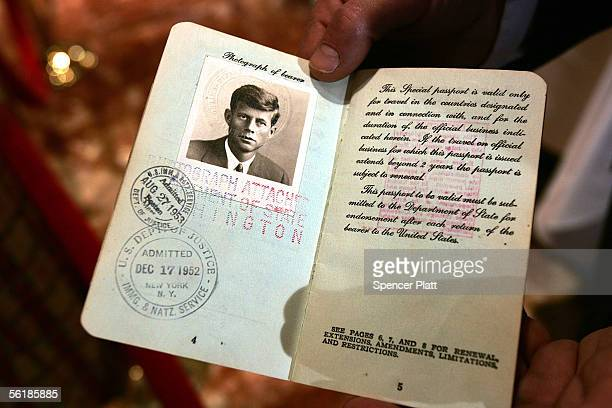 A passport belonging to former US President John F Kennedy is displayed at an auction preview at the Trump Tower November 16 2005 in New York City...