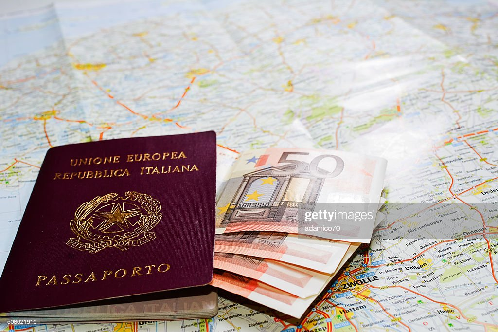 Passport, money and map : Stock Photo