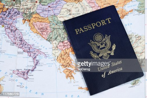 Us Passport On Map Of Europe Photo – South of Europe Map