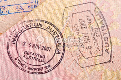 Passport Page With The Immigration Control Of Australia Stamps Stock Photo