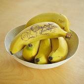 Passport stamps on bananas