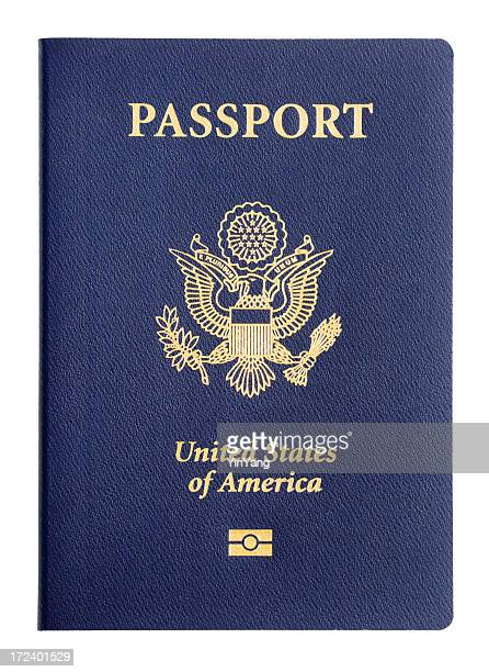 USA Passport Travel Identity, American Imbedded Microchip Cover on White