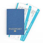 Passport with plane tickets
