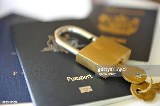 Passports with a lock and key on top
