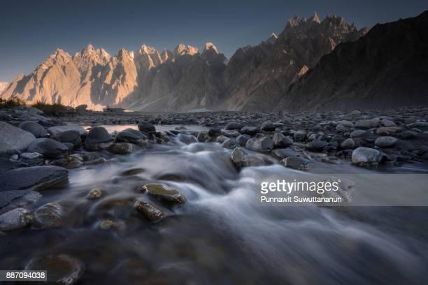 Passu cathedral mountain peak with small canal, Gilgit Baltistan, Pakistan