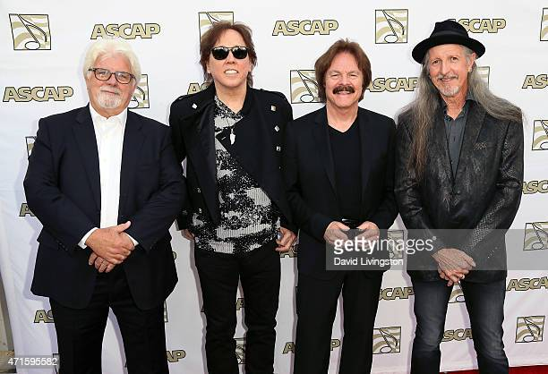 Past and present Doobie Brothers members Michael McDonald John McFee Tom Johnston and Patrick Simmons attend the 32nd Annual ASCAP Pop Music Awards...