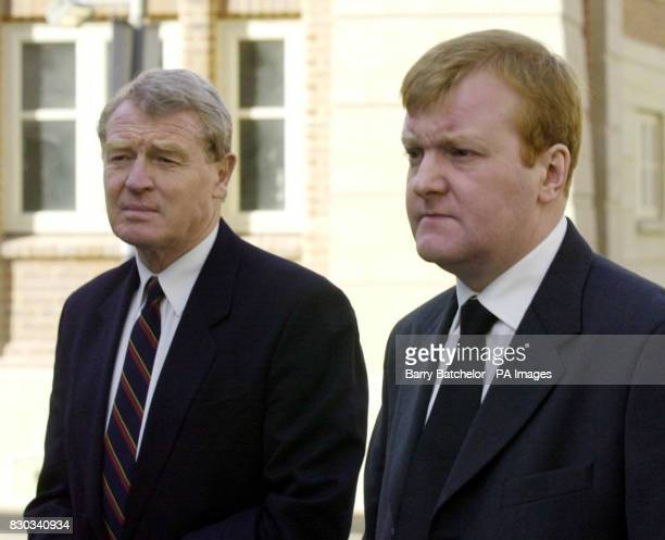 Past and present Liberal Democrat leaders Paddy Ashdown left and Charles Kennedy at the memorial service for Andrew Pennington at St Matthew's Church...