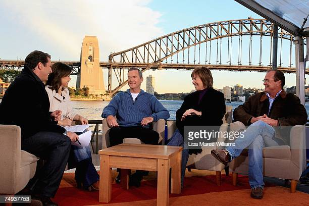 Past and present Today Show presenters Karl Stefanovic Lisa Wilkinson Ian Ross Tracey Grimshaw and Monti Dwyer live onair as part of the Today Show...