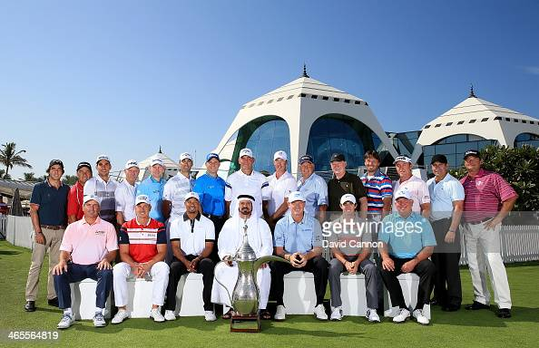 Past Champions of The Dubai Desert Classic assemble for the commemorative photograph Fred Couples of the USA Henrik Stenson of Sweden Tiger Woods of...