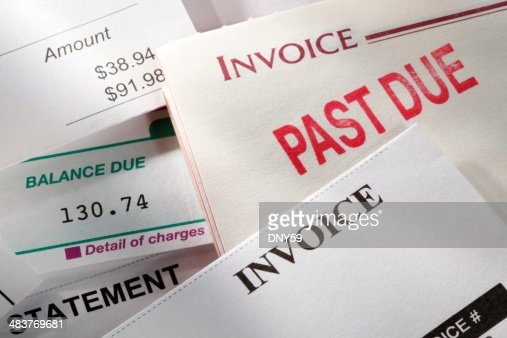 Past due notice stamped on an invoice
